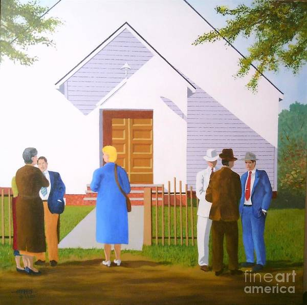 People Poster featuring the painting Church Yard Chatter by Hugh Harris