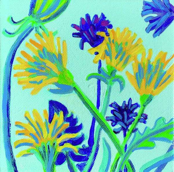 Flowers Poster featuring the painting Enchanted with Dandelions by Debra Bretton Robinson