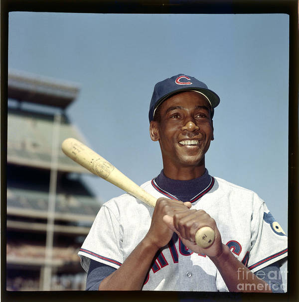 People Poster featuring the photograph Ernie Banks by Louis Requena