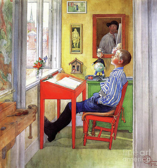 Esbjorn Doing His Homework Poster featuring the painting Esbjorn Doing his Homework by Carl Larsson