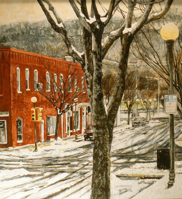 Snow Scene Poster featuring the painting First Snow by Thomas Akers