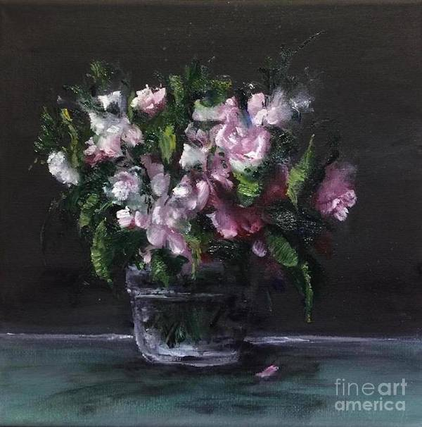 Flowers Poster featuring the painting Flowers in a Glass Jar by Lizzy Forrester