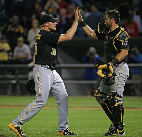 People Poster featuring the photograph Francisco Cervelli and Mark Melancon by Jonathan Daniel