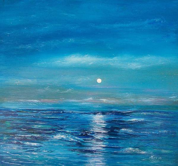 Fukk Moon Seascape Poster featuring the painting Full Moon Seascape by Tony Rodriguez