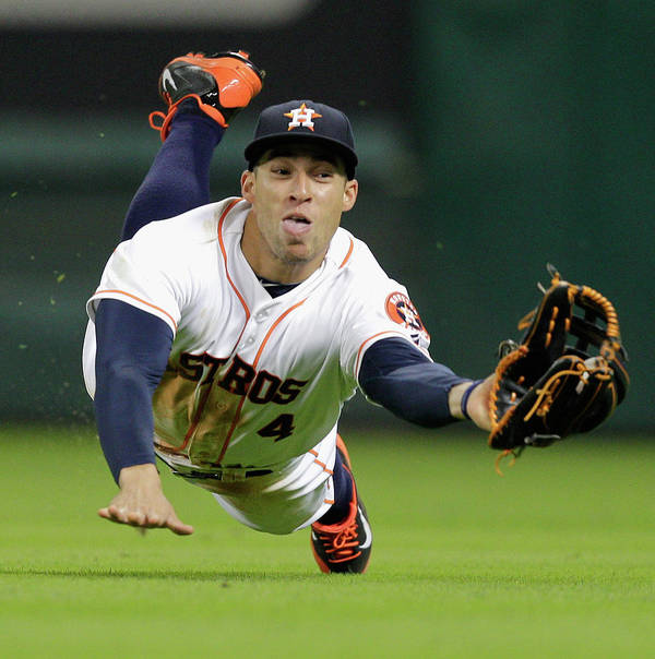 American League Baseball Poster featuring the photograph George Springer by Bob Levey