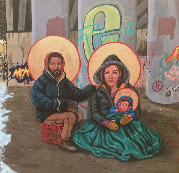 Poster featuring the painting Holy Family of the Streets by Kelly Latimore