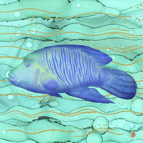 Wrasse Fish Poster featuring the digital art Humphead Wrasse Colorful Fish Swimming in the Emerald Ocean by Andreea Dumez