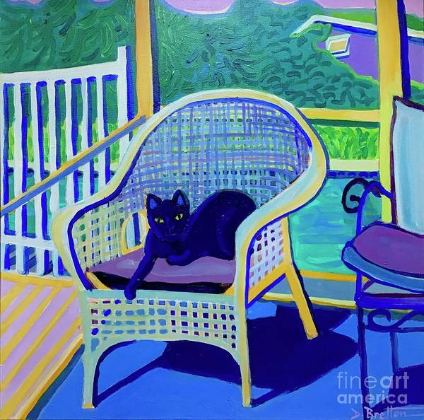 Black Cat Poster featuring the painting King Louis in the Screened Porch by Debra Bretton Robinson