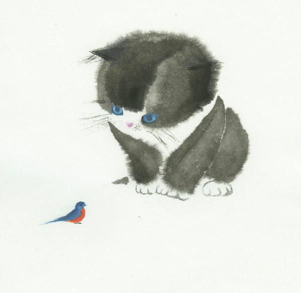 A Curious Little Cat Is Captivated By A Little Bird She Found. This Is A Simple Contemporary Chinese Brush Painting On Rice Paper. Poster featuring the painting Little Cat Found a Bird by Mui-Joo Wee