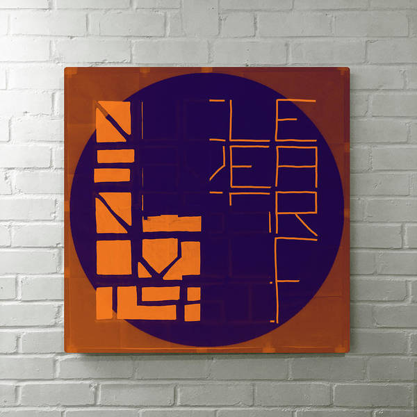 Studio Poster featuring the digital art Nucle Orange To Blue - Installed by REVAD David Riley