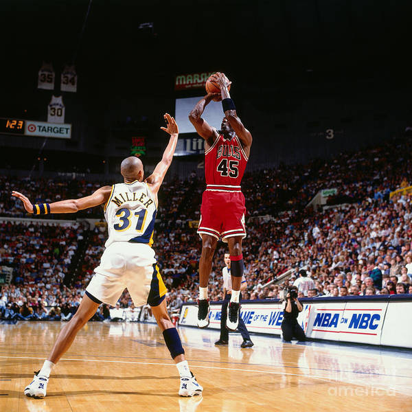 Nba Pro Basketball Poster featuring the photograph Reggie Miller and Michael Jordan by Nathaniel S. Butler