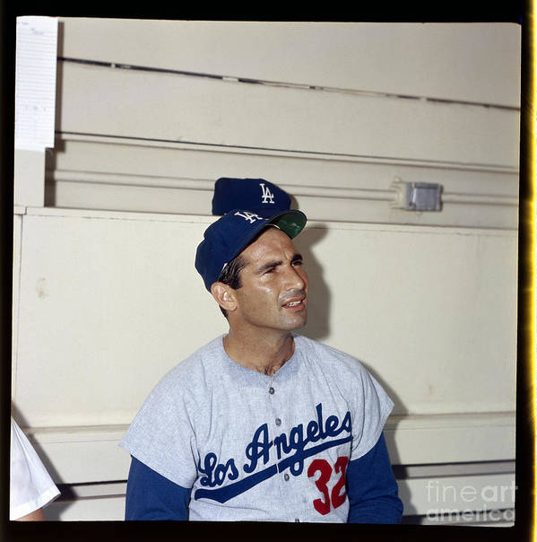 Sandy Koufax Poster featuring the photograph Sandy Koufax by Louis Requena