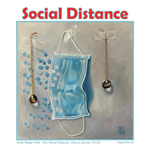 Social Distancing Poster featuring the painting Social Distance poster #2 by Roger Calle