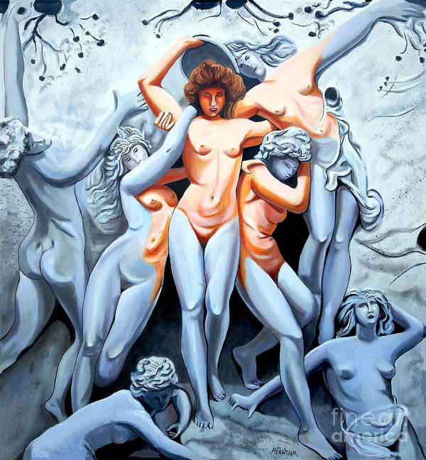 Statue Women Poster featuring the painting Statue 3 by Jose Manuel Abraham