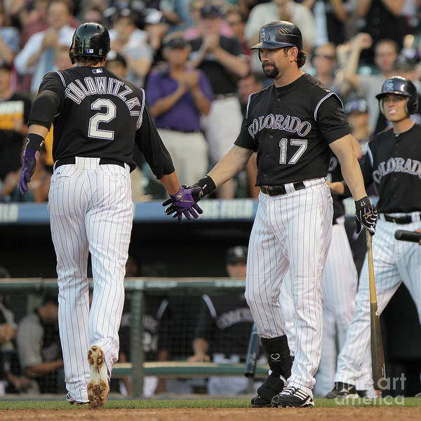 People Poster featuring the photograph Todd Helton, Troy Tulowitzki, and Anibal Sanchez by Doug Pensinger