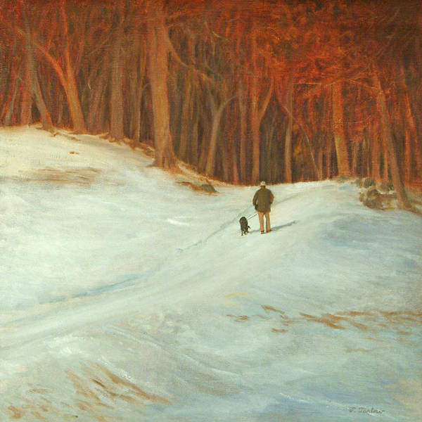 Landscape Poster featuring the painting Winter Walk with Dog by Phyllis Tarlow