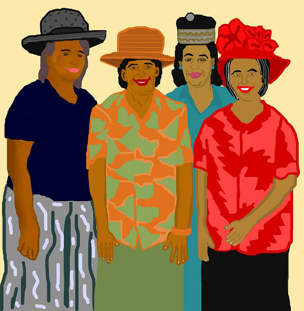 Women Poster featuring the painting Women of the Church by Pharris Art