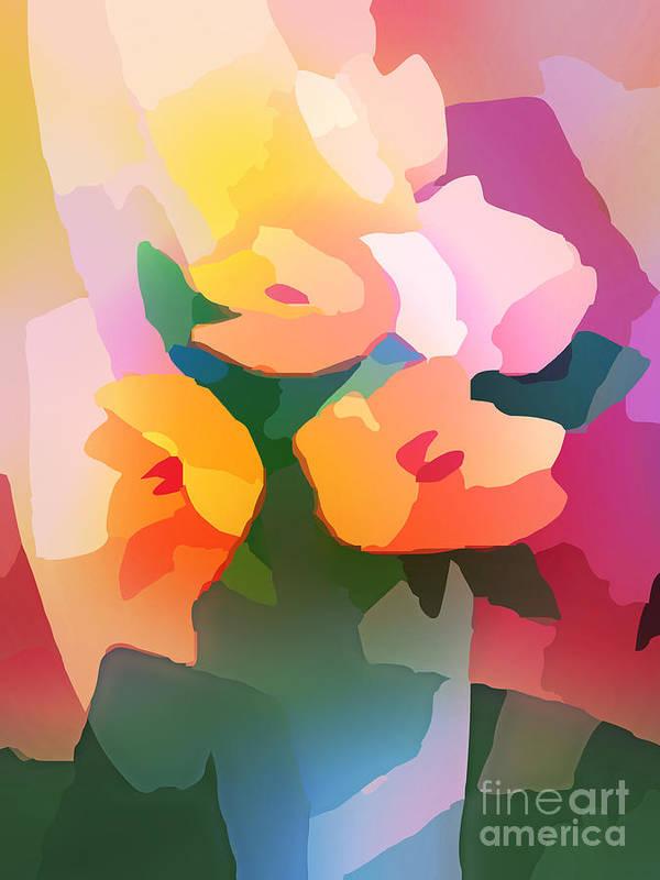Flower Deco Poster featuring the digital art Flower Deco II by Lutz Baar