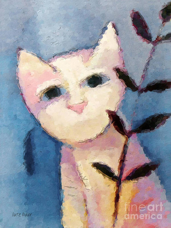 Cat Poster featuring the painting Little White Cat by Lutz Baar