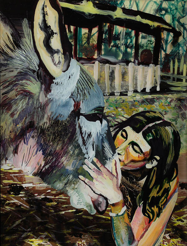 Kiss Poster featuring the painting Girl Kissing Donkey by Lucia Marcus