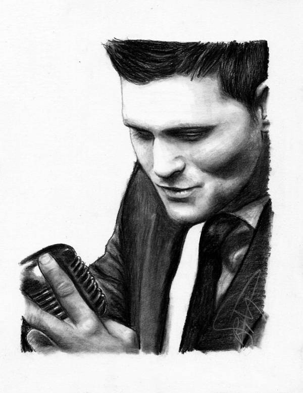 Michael Buble Poster featuring the drawing Michael Buble by Rosalinda Markle