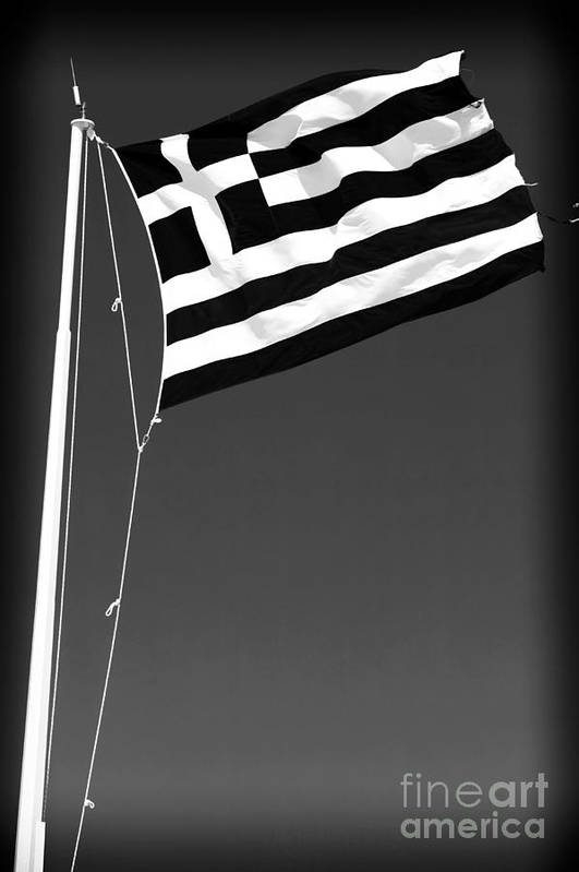 Greek Flag Poster featuring the photograph Greek Flag by John Rizzuto