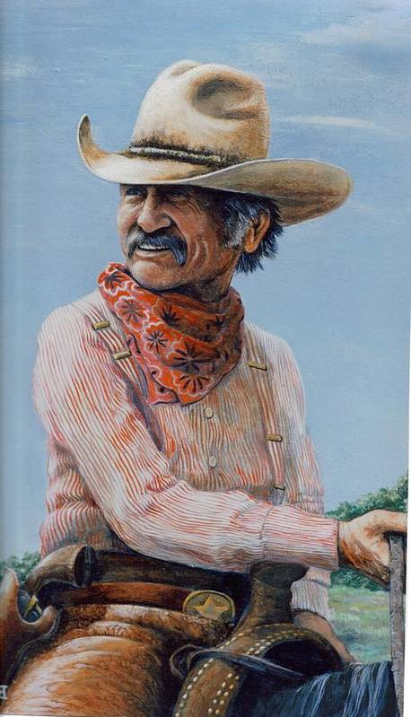 Cowboy Poster featuring the print Gus by Lee Bowerman