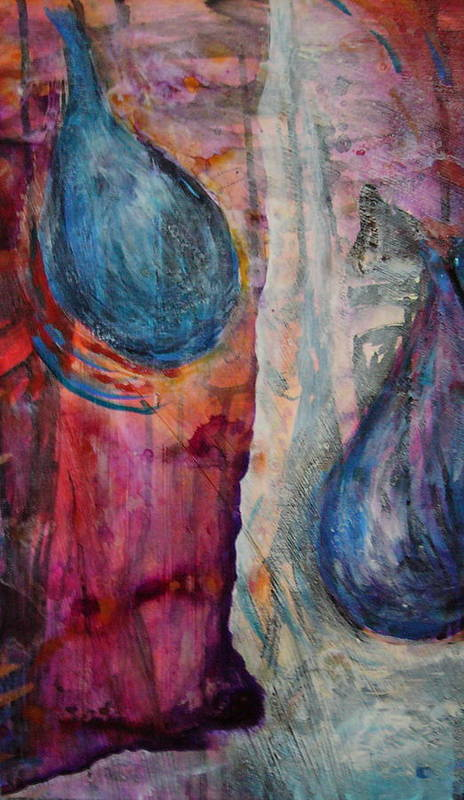 Abstract Poster featuring the painting Tears Of Love by Tracey Flanigan