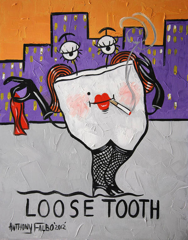 Loose Tooth Framed Prints Poster featuring the painting Loose Tooth by Anthony Falbo
