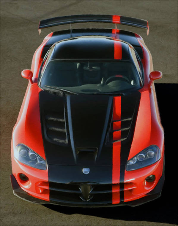 Auto Poster featuring the pastel Viper Acr by Rodney Mann
