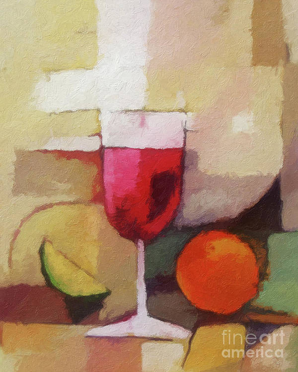 Still Life Poster featuring the painting Red Wine by Lutz Baar