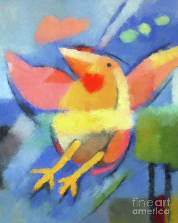 Bird Poster featuring the painting First Fly Digital by Lutz Baar