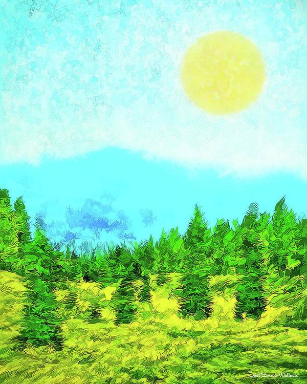 Joelbrucewallach Poster featuring the digital art Pine Tree Mountain Blue - Shasta California by Joel Bruce Wallach