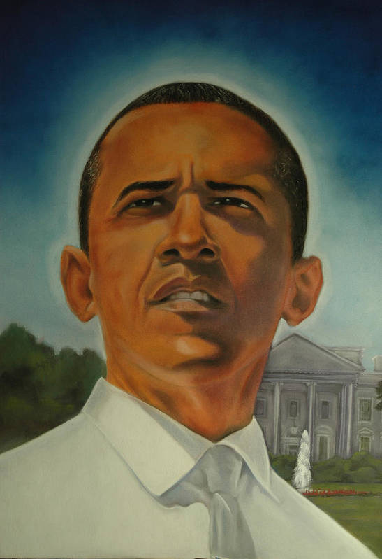 President Poster featuring the pastel Bless Mr.obama by Joyce Hayes