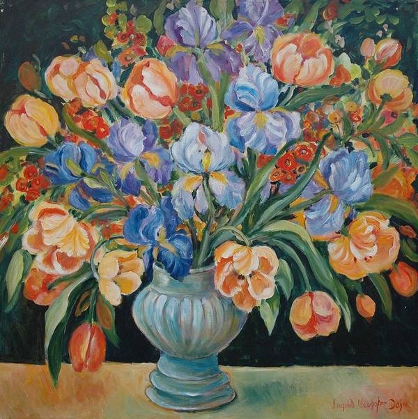Still Life Poster featuring the painting Tulips by Alexandra Maria Ethlyn Cheshire