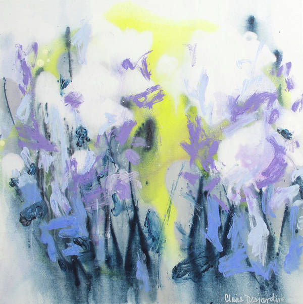 Abstract Poster featuring the painting A Patch Of Purple by Claire Desjardins
