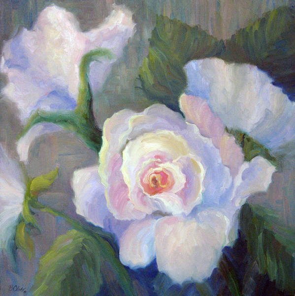 Flower Poster featuring the painting Big Blushing Rose by Bunny Oliver