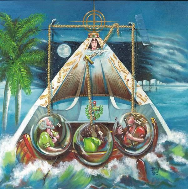 Ermita De La Caridad Poster featuring the painting La Virgen De La Caridad Del Cobre En Miami by Roger Calle
