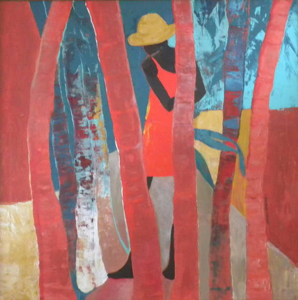 Abstract Poster featuring the painting Lady In Red Number Two by Jan Farara