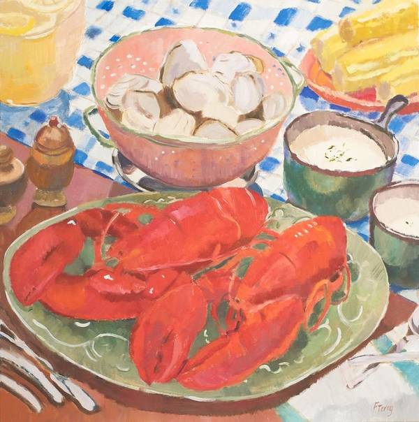 Still Life Poster featuring the painting Maine Menu by Fay Terry