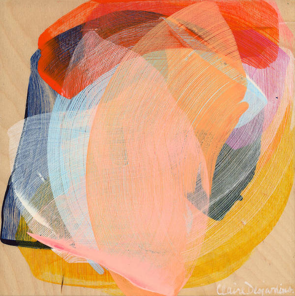 Abstract Poster featuring the painting Out Of The Blue 02 by Claire Desjardins