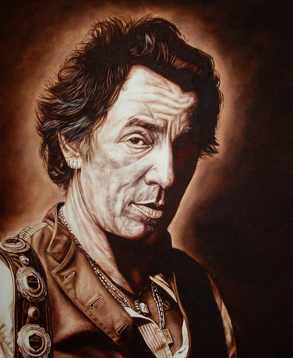 Bruce Springsteen Poster featuring the painting Bruce Springsteen by Mark Baker