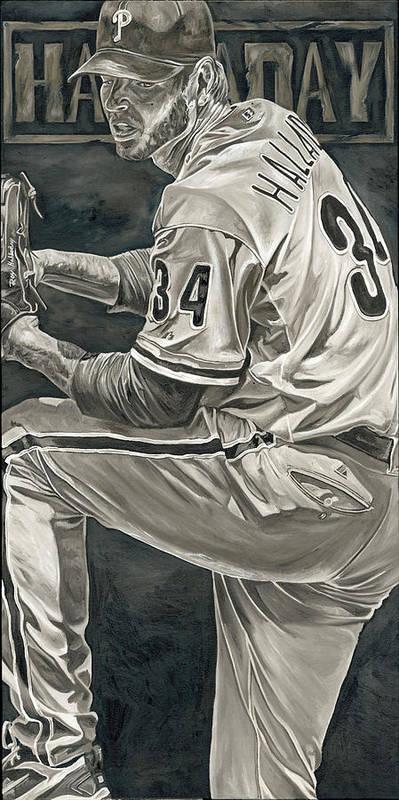 Roy Halladay Philadelphia Phillies Pitcher Baseball Painting David Courson Art Poster featuring the painting Roy Halladay by David Courson
