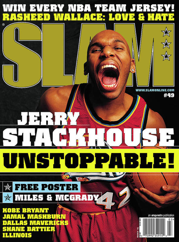 Jerry Stackhouse Poster featuring the photograph Jerry Stackouse: Unstoppable! SLAM Cover by Getty Images