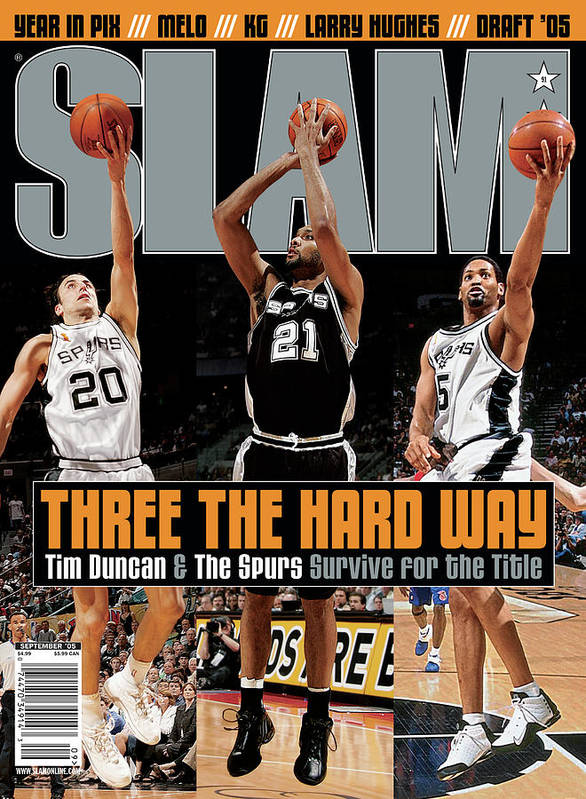 Tim Duncan Poster featuring the photograph Three the Hard Way: Tim Duncan & The Spurs Survive for the Title SLAM Cover by Getty Images