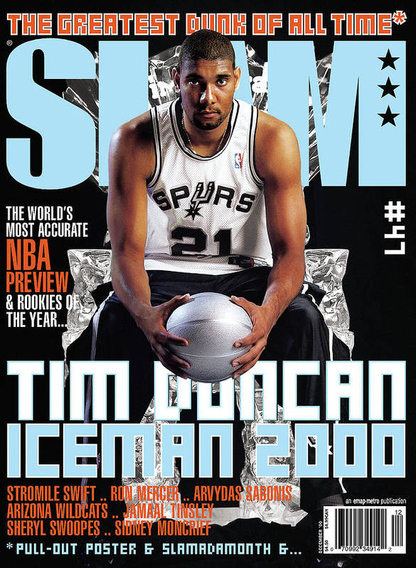 Tim Duncan Poster featuring the photograph Tim Duncan: Iceman 2000 SLAM Cover by Atiba Jefferson
