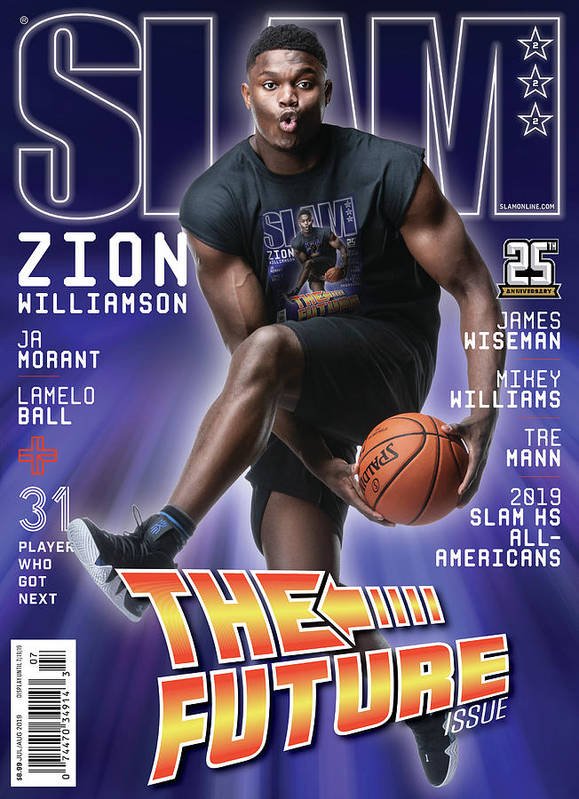 Zion Williamson Poster featuring the photograph Zion Williamson: The Future Issue SLAM Cover by Matthew Coughlin