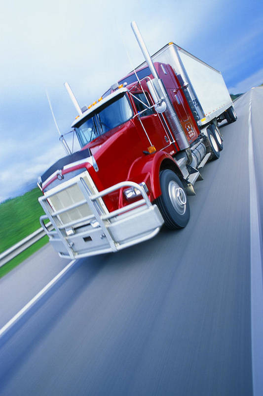 Angled Poster featuring the photograph Semi-trailer Truck by Don Hammond