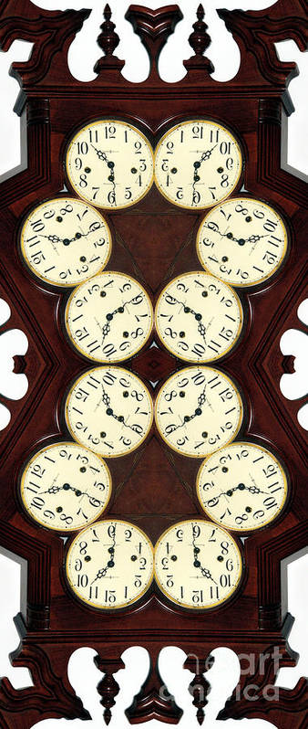 Digital Abstract Poster featuring the photograph Antique Clock Abstract . Vertical by Renee Trenholm