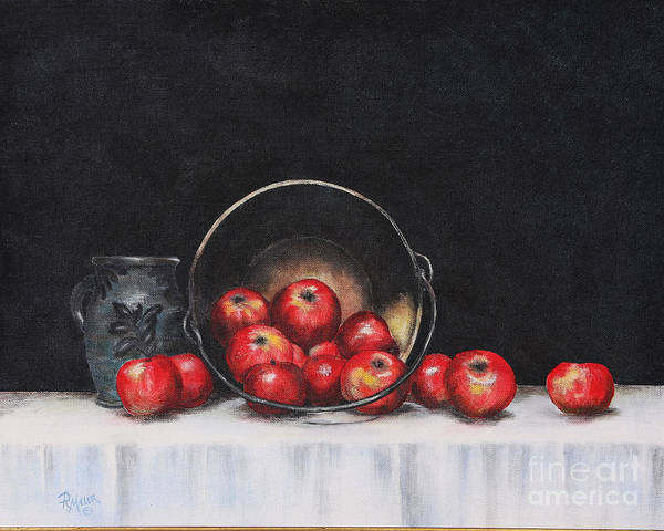 Apples Poster featuring the painting Apple Still Life by Rita Miller